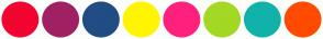 Color Scheme with #F20530 #A02064 #224C84 #FFF503 #FF207E #A3D824 #11B2A9 #FF4B01