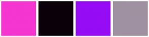 Color Scheme with #F536D0 #0A000A #960CF5 #A091A1