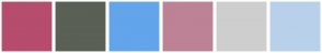 Color Scheme with #B64C6E #5A6055 #63A5EA #BD8295 #CECECE #B8D0E9