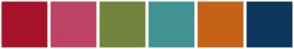 Color Scheme with #A7132B #BC4365 #72843C #419392 #C66218 #0E365C