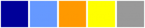 Color Scheme with #000099 #6699FF #FF9900 #FFFF00 #999999