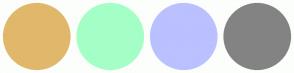 Color Scheme with #E1B86B #A4FFC6 #BBC0FF #838383