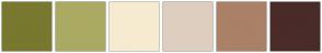 Color Scheme with #78782F #ABAA63 #F6EBD0 #DECEBF #AA8067 #492B29