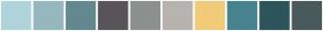 Color Scheme with #AFD4DB #96B7BE #64888F #59545A #8B918F #B8B3AF #F1CB79 #47838F #2E545C #49595C