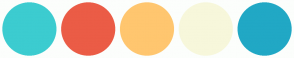 Color Scheme with #3CCCD0 #EB5C46 #FFC66F #F7F7DB #21A8C5