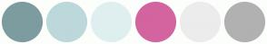 Color Scheme with #7D9C9F #BDD8DA #DFEFF0 #D3649F #ECECEC #B1B1B1