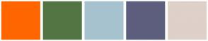Color Scheme with #FF6600 #537544 #A6C2CE #5D5E7D #DFD0C9
