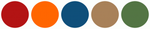 Color Scheme with #B31414 #FF6600 #0F4F7A #A88159 #537544