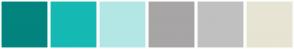 Color Scheme with #02847F #16B9B3 #B3E7E5 #A7A5A5 #C0C0C0 #E7E4D3