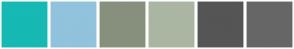 Color Scheme with #16B9B3 #91C3DC #87907D #AAB6A2 #555555 #666666