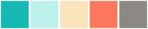 Color Scheme with #16B9B3 #BCF1ED #FBE4BC #FD795B #8C8984