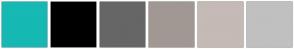 Color Scheme with #16B9B3 #000000 #666666 #A19893 #C5BAB5 #C0C0C0