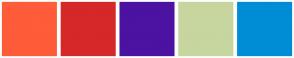 Color Scheme with #FF5C39 #D62828 #4C12A1 #C7D59F #008DD5