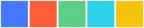 Color Scheme with #447AFD #FF5C39 #5DCE84 #2ED1EA #F6C508