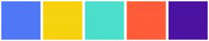 Color Scheme with #4F78F6 #F7D20E #4BDFCB #FF5C39 #4C12A1