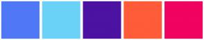 Color Scheme with #4F78F6 #6BD2F7 #4C12A1 #FF5C39 #F00361