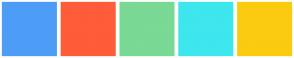 Color Scheme with #4D9DF7 #FF5C39 #79D995 #3EE6EE #FBCB10