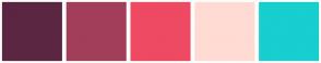 Color Scheme with #5B2642 #A23E5A #EE4A63 #FFDBD3 #18CECF