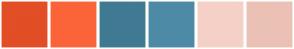 Color Scheme with #E24E26 #FB6439 #407A92 #4D8AA6 #F5D0C7 #EBC1B5