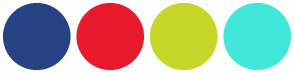 Color Scheme with #284384 #E91A2D #C6D729 #41E8DA