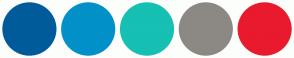 Color Scheme with #005B9A #0191C8 #16C0B2 #8C8984 #E91A2D