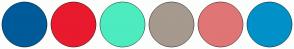 Color Scheme with #005B9A #E91A2D #4CECBF #A6998D #E07575 #0191C8