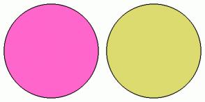 Color Scheme with #FF66CC #DBDB70