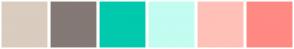 Color Scheme with #DACCBF #847975 #00C9AE #C3FCF1 #FFC0B8 #FF8983
