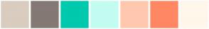 Color Scheme with #DACCBF #847975 #00C9AE #C3FCF1 #FFC8AF #FF8863 #FFF7EB