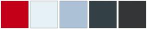 Color Scheme with #C30017 #E6F1F5 #ADC1D6 #334046 #343537