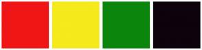 Color Scheme with #F01616 #F5EA1B #0C850C #0C030D