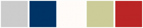 Color Scheme with #CCCCCC #003366 #FFFBF8 #CCCC99 #BB2525