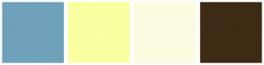 Color Scheme with #6FA1BB #FAFFA1 #FBFDE0 #3E2B15