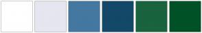 Color Scheme with #FFFFFF #E6E6F0 #4478A0 #134868 #19633E #005126
