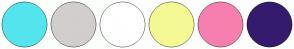 Color Scheme with #53E5ED #D2CECE #FFFFFF #F4F994 #F77FAF #351B6D
