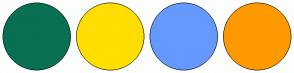Color Scheme with #097054 #FFDE00 #6599FF #FF9900