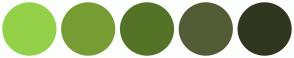Color Scheme with #94D149 #779C33 #557328 #525C35 #313620