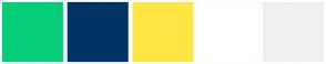 Color Scheme with #05CE7B #003365 #FEE745 #FFFFFF #EFEFEF