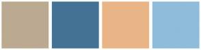 Color Scheme with #BCA991 #447294 #E9B587 #8FBCDB