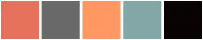 Color Scheme with #E7725C #69696A #FF9862 #83A7A7 #090303