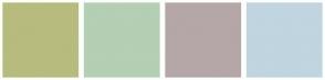 Color Scheme with #B7BB7E #B4CFB4 #B5A7A7 #C0D5DF