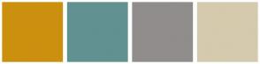 Color Scheme with #CC900F #629191 #918D8D #D5CAAD