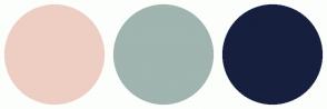 Color Scheme with #EECEC3 #A0B4B0 #171F3E