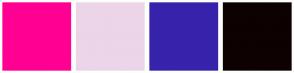 Color Scheme with #FF0092 #ECD5E8 #3723AB #0D0101