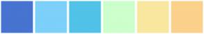 Color Scheme with #4674D0 #7DD0F9 #51C2E8 #CCFFCC #F9E79F #FBD18C