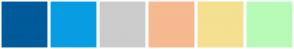 Color Scheme with #005B9A #089DE3 #CCCCCC #F6B990 #F4E090 #B8FBB8