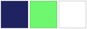 Color Scheme with #202361 #6FF76F #FFFFFF