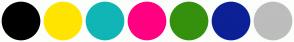 Color Scheme with #000000 #FFE500 #10B5B5 #FF0080 #35910D #0C2196 #BDBDBD