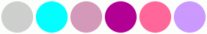 Color Scheme with #CECFCE #00FFFF #D499B9 #B30094 #FF6699 #CC99FF