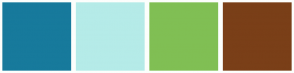 Color Scheme with #177A9C #B5EBE8 #80BF54 #7A3F18
